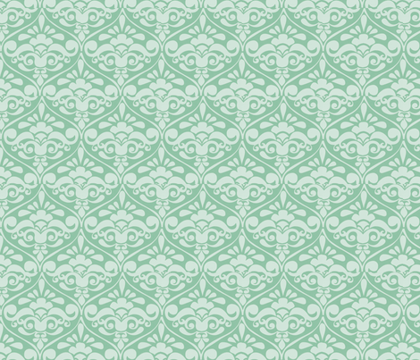 damask bold teal fabric by myracle on Spoonflower - custom fabric