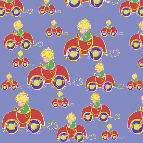 'My little red car.' said Alfred fabric by woodledoo on Spoonflower - custom fabric