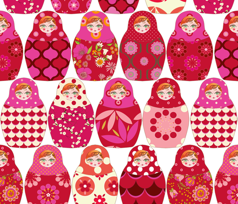 poupée_russe_Vick_rouge_rose fabric by nadja_petremand on Spoonflower - custom fabric