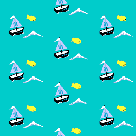 life's a Beach / boat fabric by paragonstudios on Spoonflower - custom fabric