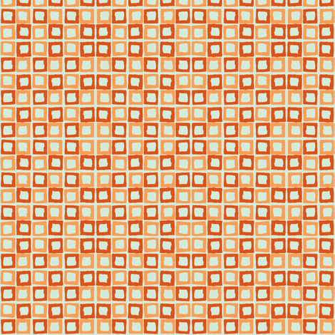 backyard blue orange fabric by housewrenstudio on Spoonflower - custom fabric