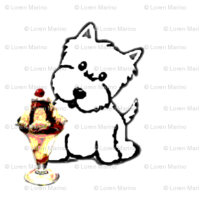Westie with Ice Cream