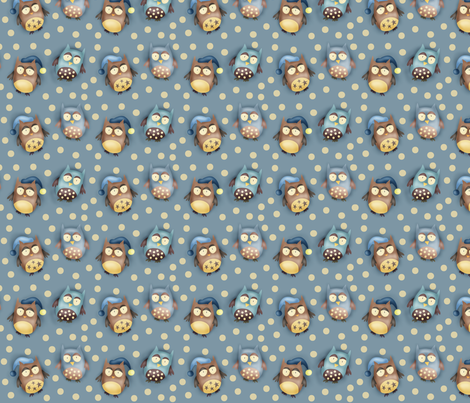 Hoot hoot crew - in light blue fabric by catru on Spoonflower - custom fabric