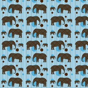 Blue Dot Elephant Plaid