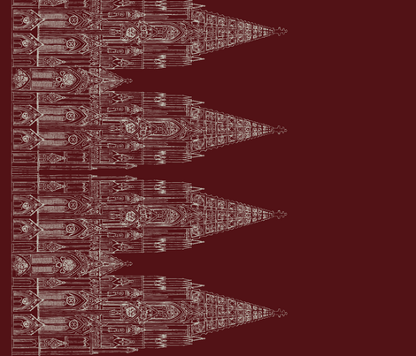Gothic Cathedral Border (Maroon/Offwhite) fabric by shirayukin on Spoonflower - custom fabric