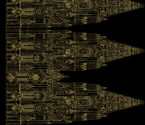 Gothic Cathedral Border (Black/OldGold) fabric by shirayukin on Spoonflower - custom fabric