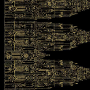 Gothic Cathedral Border (Black/OldGold)
