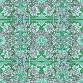 Tribal Flowers green