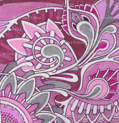 Tribal Flowers pink magenta