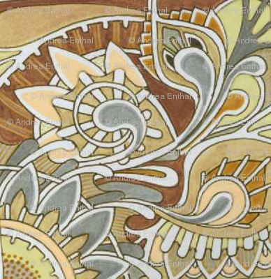 Tribal Flowers gray and tan