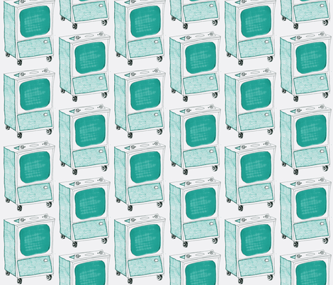 Turquoise TVs fabric by *erinred* on Spoonflower - custom fabric