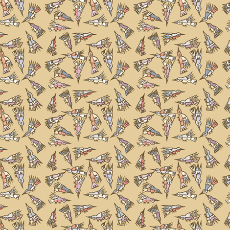 Inca Birds Sepia fabric by woodledoo on Spoonflower - custom fabric