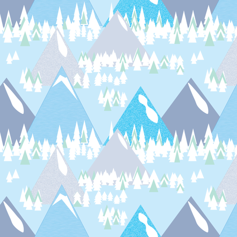 mountain town ©2015 Jill Bull fabric by palmrowprints on Spoonflower - custom fabric