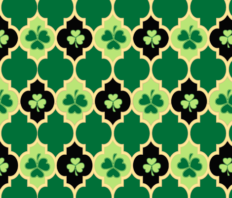 Quatrefoil Irish Shamrocks fabric by spicetree on Spoonflower - custom fabric