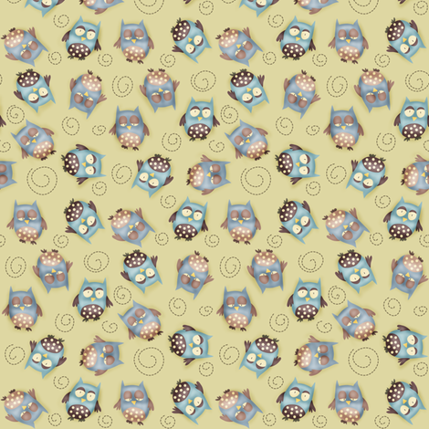 [SMALL] Baby Boy - hoot hoots around fabric by catru on Spoonflower - custom fabric