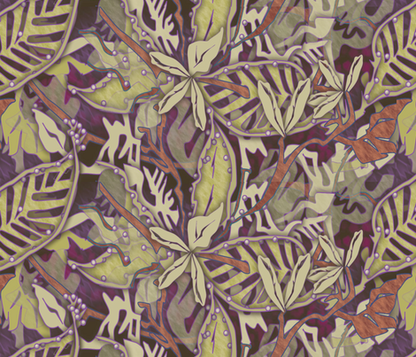 ©2011 Muted jungle fabric by glimmericks on Spoonflower - custom fabric