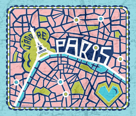 J'adore Paris Tea Towel - Map Eiffel Tower fabric by heatherdutton on Spoonflower - custom fabric