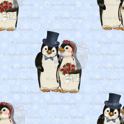 Penguin Wedding Couple on Blue