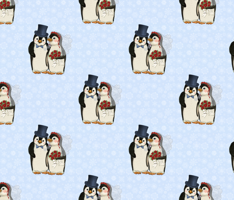 Penguin Wedding Couple on Blue fabric by spicetree on Spoonflower - custom fabric