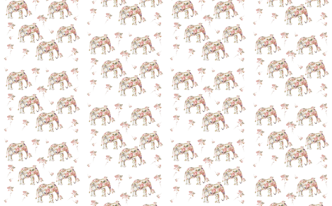 Elephants and Roses with a bit of French script fabric by karenharveycox on Spoonflower - custom fabric