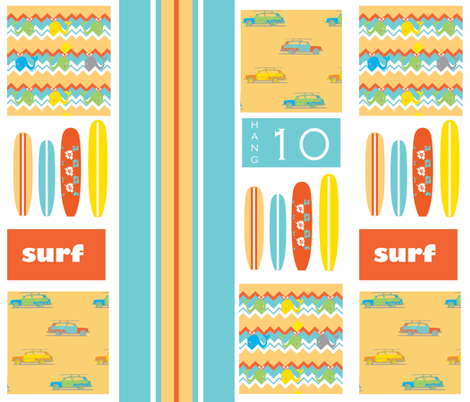 Lex's surfing  squares ©2012 Jill Bull fabric by palmrowprints on Spoonflower - custom fabric