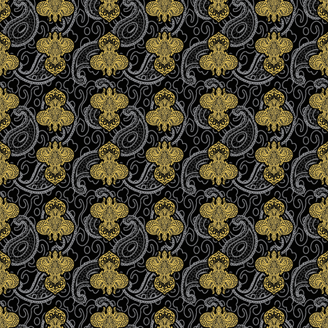 ©2011 Fleur de Paisley - black and gold fabric by glimmericks on Spoonflower - custom fabric