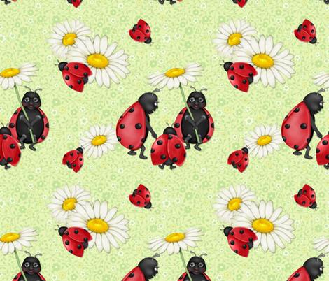 Ladybug Stroll - green fabric by spicetree on Spoonflower - custom fabric