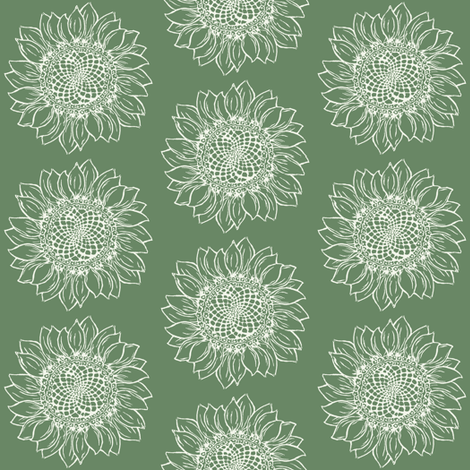 Big Green Sunflower fabric by woodledoo on Spoonflower - custom fabric
