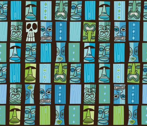 Tiki Tiki in the Moonlight fabric by cynthiafrenette on Spoonflower - custom fabric