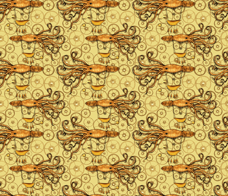 Sailing Steampunk Squid Ships: Say that 5 times fast (zoooom please) fabric by vo_aka_virginiao on Spoonflower - custom fabric