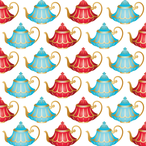 In Wonderland: Teapots fabric by jazzypatterns on Spoonflower - custom fabric