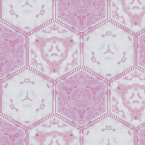 Hexagonal Tile Geometric in tulip pink © 2009 Gingezel™ Inc. fabric by gingezel on Spoonflower - custom fabric