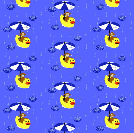 Ducky & Monkey / rain fabric by paragonstudios on Spoonflower - custom fabric
