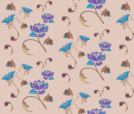 Serene Flowers on Beige Large Scale © 2011 Gingezel™ Inc. fabric by gingezel on Spoonflower - custom fabric