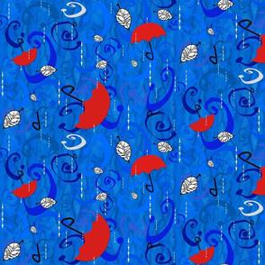 Blue Rain Red Umbrellas