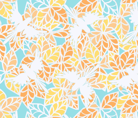 ©2011 Birds of a Jungle - Peach and Blue fabric by glimmericks on Spoonflower - custom fabric