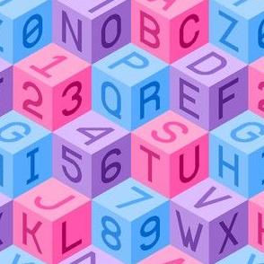 00516129 : alphanumeric cubes : girl