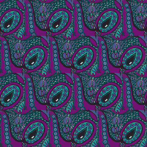 Purple/teal tear pods fabric by tallulah11 on Spoonflower - custom fabric
