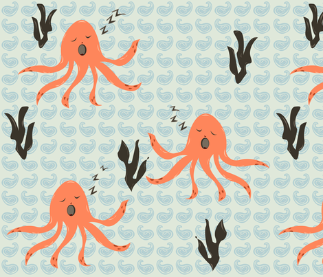 Sleeping Squid fabric by featheredneststudio on Spoonflower - custom fabric