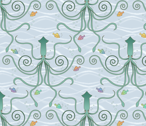 a squid ballet fabric by littlerhodydesign on Spoonflower - custom fabric