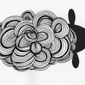 modern black and white swirly sheep