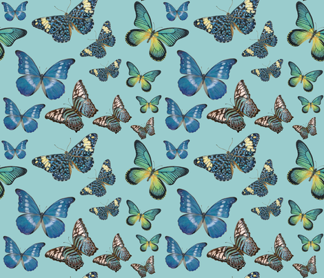 Blue Butterfly Paintings fabric by angelaanderson on Spoonflower - custom fabric