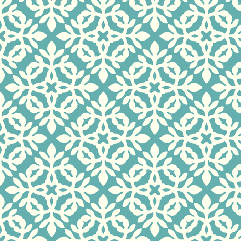 BRIGHT TURQUOISE & cream mini-papercut2 fabric by mina on Spoonflower - custom fabric