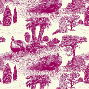Peacock Toile de Jouy sateen purple