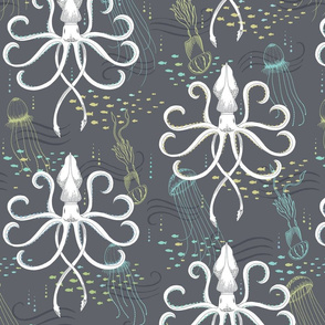 LARGE Ghostly Squid Damask