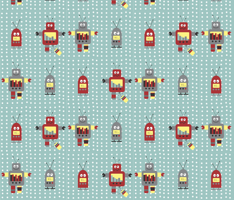 robot_base_tester fabric by mudpuddles on Spoonflower - custom fabric