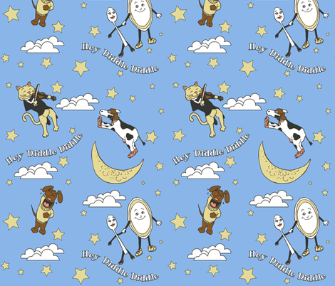 Hey Diddle Diddle - Boy fabric by shadowfell on Spoonflower - custom fabric