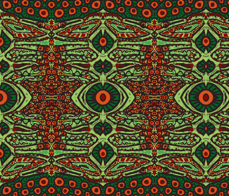 Bright cell garden green/red/orange fabric by tallulah11 on Spoonflower - custom fabric