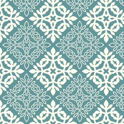 BLUE-GREEN mini-papercut3-solid-outlines fabric by mina on Spoonflower - custom fabric