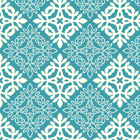 BRIGHT BLUE TURQUOISE mini-papercut3-solid-outlns fabric by mina on Spoonflower - custom fabric